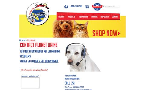 Screenshot of Contact Page planeturine.com - Contact Planet Urine - captured May 19, 2017