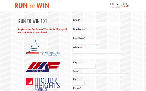 Screenshot of Landing Page emilyslist.org - EMILY's List  |  Run to Win | EMILY's List - captured Nov. 8, 2017