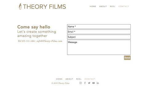 Screenshot of Contact Page theory-films.com - Theory Films | CONTACT - captured Oct. 13, 2019