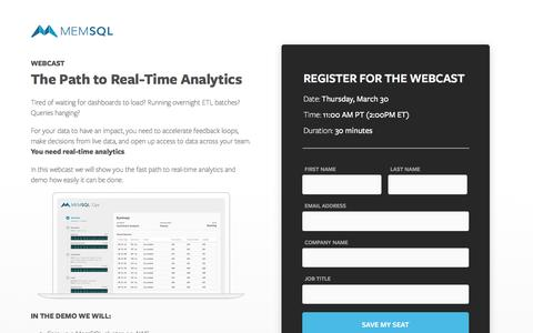 Screenshot of Landing Page memsql.com - Webcast: The Path to Real-Time Analytics - captured March 30, 2017