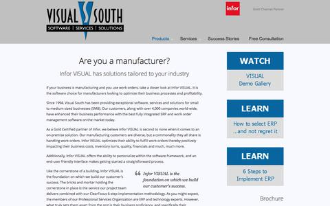 Screenshot of Products Page visualsouth.com - Infor VISUAL ERP – Visual South - captured June 13, 2017