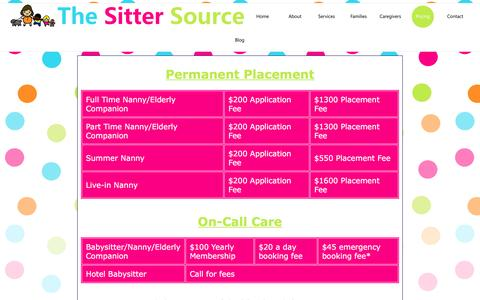 Screenshot of Pricing Page pghsitters.com - The Sitter Source - captured March 8, 2016
