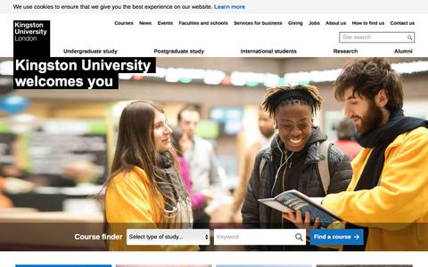 Screenshot of Home Page kingston.ac.uk - Kingston University London - A UK-based university which features in the latest QS World University Rankings league table of the world's top universities - captured Sept. 19, 2018