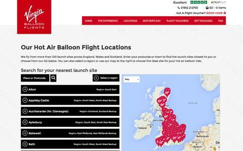 Screenshot of Locations Page virginballoonflights.co.uk - Our Hot Air Balloon Flight Locations - Virgin Balloon Flights - captured Feb. 19, 2016