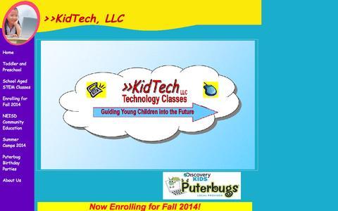 Screenshot of Home Page kidtechclasses.com - >>KidTech, LLC - captured Oct. 6, 2014