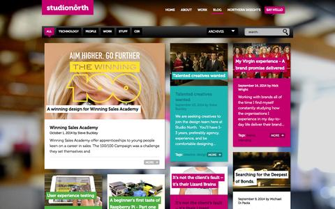 Screenshot of Blog studionorth.co.uk - Brand and digital agency : Studio North blog - captured Oct. 9, 2014