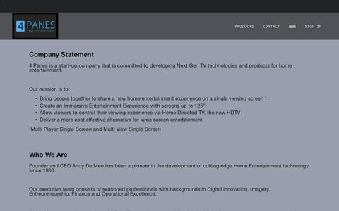 Screenshot of About Page 4paneshomeentertainment.com - ABOUT — 4Panes - captured Oct. 12, 2018