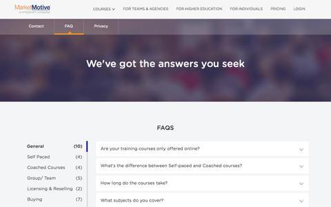 Screenshot of FAQ Page marketmotive.com - FAQ - Market Motive - captured Oct. 20, 2015