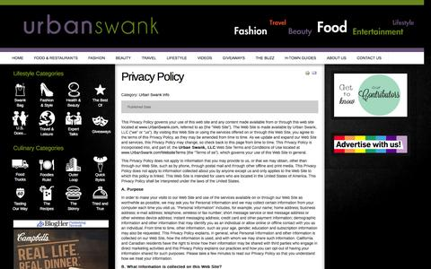 Screenshot of Privacy Page urbanswankblog.com - Privacy Policy - captured Oct. 9, 2014