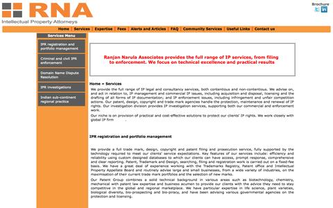Screenshot of Services Page indiaiprights.com - Ranjan Narula Associates (RNA) provide full range of IP legal and consultancy services on prosecution and renewal of IP rights - captured Oct. 27, 2014