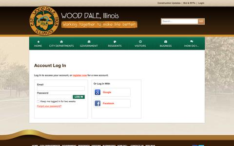 Screenshot of Login Page wooddale.com - City of Wood Dale, IL : Account Log In - captured Nov. 6, 2016
