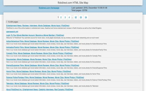 Screenshot of Site Map Page flickdirect.com - Entertainment News, Reviews, Interviews, Movie Database, Movie Apps | FlickDirect Site Map  Page 1 - captured Dec. 16, 2018