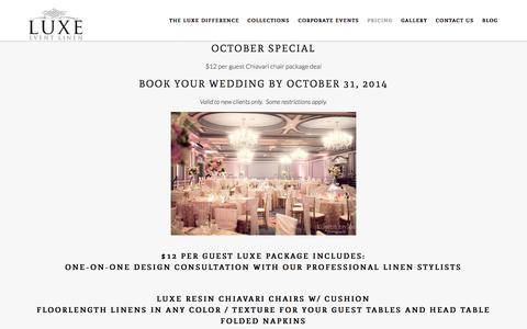 Screenshot of Pricing Page luxeeventlinen.com - Packages | Luxe Event Linen - captured Oct. 4, 2014