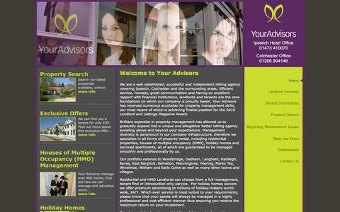 Screenshot of Home Page youradvisors.co.uk - Your Advisors - captured Sept. 30, 2014