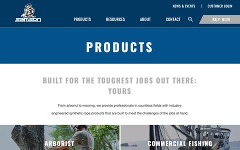Screenshot of Products Page samsonrope.com - Products - captured Dec. 13, 2018