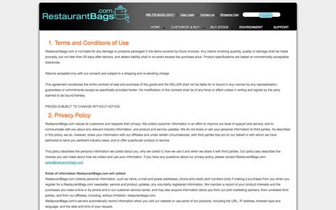 Screenshot of Privacy Page restaurantbags.com - Terms & Conditions of Use - captured Oct. 8, 2014