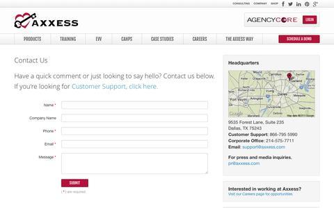 Screenshot of Contact Page axxess.com - Axxess Technology Solutions Contact Us   Axxess Software - captured Sept. 25, 2014