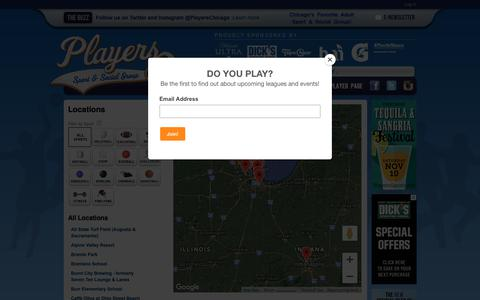 Screenshot of Locations Page playerssports.net - Locations: Players Sport & Social Group - Chicago, IL - captured Sept. 28, 2018