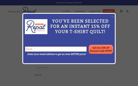 Screenshot of Contact Page projectrepat.com - Contact Us   Project Repat T Shirt Quilts - captured Oct. 18, 2018