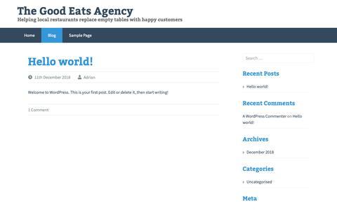Screenshot of Blog goodeatsagency.com - Blog – The Good Eats Agency - captured Dec. 15, 2018
