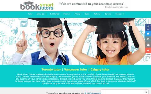 Screenshot of Home Page booksmarttutors.ca - Toronto Tutor | Vancouver Tutor | Calgary Tutor | BookSmartTutors - captured Nov. 6, 2018