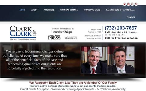 Screenshot of Home Page csclarklaw.com - Criminal Defense Lawyer Monmouth, NJ - captured Jan. 28, 2016