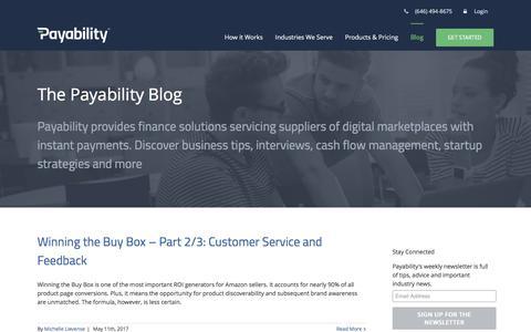 Screenshot of Blog payability.com - Payability Blog | Payability | Financing for Amazon Businesses - captured May 15, 2017