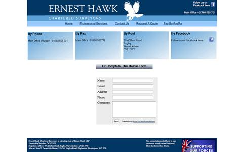 Screenshot of Contact Page ernesthawk.co.uk - Ernest Hawk Chartered Surveyors - Contact Us - captured Oct. 2, 2014