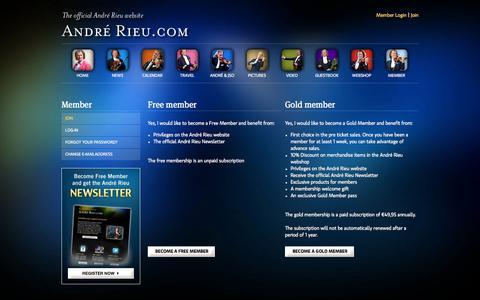 Screenshot of Signup Page andrerieu.com - Join - The official André Rieu website - captured Sept. 25, 2014