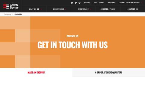 Screenshot of Contact Page lowandbonar.com - Contact Us | Low & Bonar - captured Oct. 21, 2018