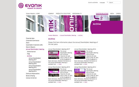 Archive - Evonik Industries - Specialty Chemicals