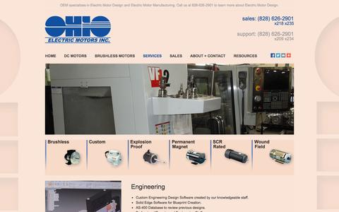 Screenshot of Services Page ohioelectricmotors.com - Electric Motor Design and Electric Motor Manufacturing by OEM - captured Oct. 9, 2014