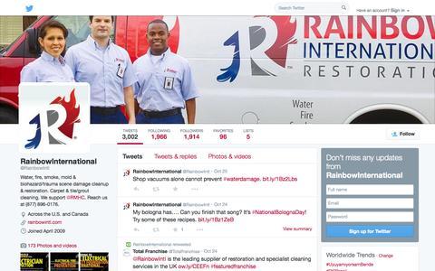 Screenshot of Twitter Page twitter.com - RainbowInternational (@RainbowIntl) | Twitter - captured Oct. 27, 2014