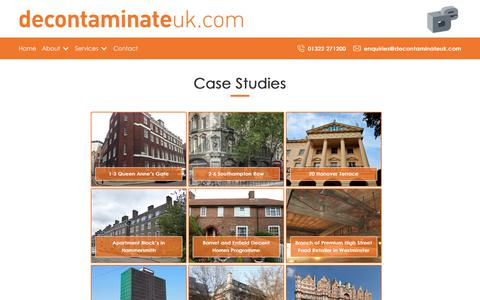 Screenshot of Case Studies Page decontaminateuk.com - Case Study Home - captured Aug. 6, 2018