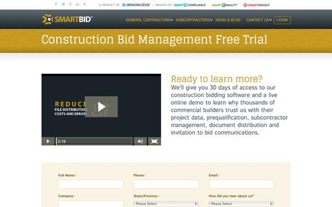 Screenshot of Trial Page smartbidnet.com - Construction Bidding Software - Free Trial – SmartBidNet - captured Sept. 8, 2016