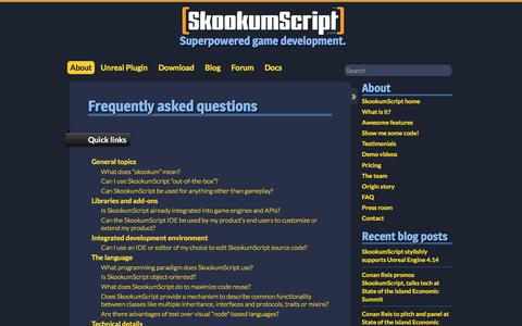 Screenshot of FAQ Page skookumscript.com - Frequently asked questions - SkookumScript - captured Nov. 20, 2016
