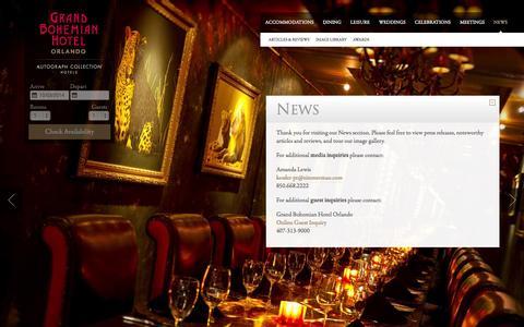Screenshot of Press Page grandbohemianhotel.com - Orlando News | Grand Bohemian Hotel - captured Oct. 3, 2014
