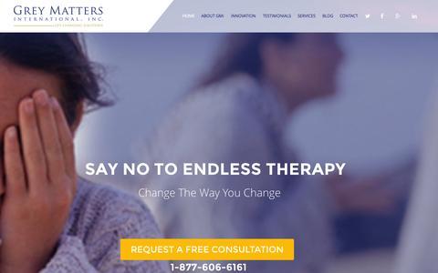 Screenshot of Home Page greymattersintl.com - Grey Matters | Executive Wellness | Addiction Therapy - captured Jan. 23, 2015