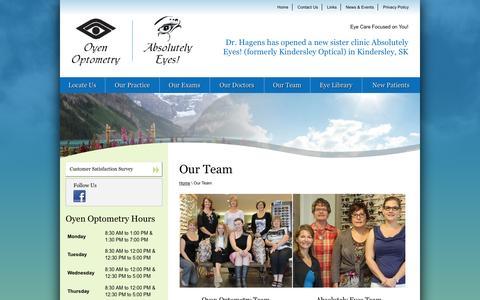 Screenshot of Team Page oyenoptometry.com captured Oct. 26, 2014