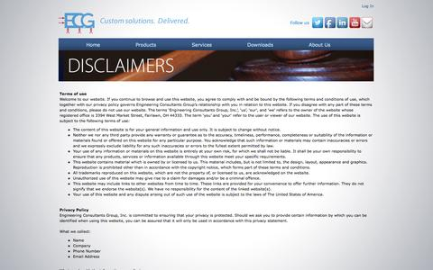 Screenshot of Privacy Page Terms Page ecg-inc.com - Engineering Consultants Group, Inc. - Legal Disclaimers - captured Oct. 2, 2014