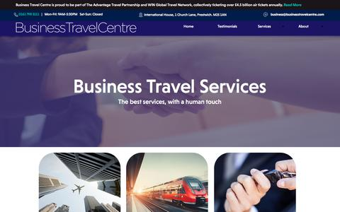 Screenshot of Services Page businesstravelcentre.com - Services - captured Aug. 4, 2018