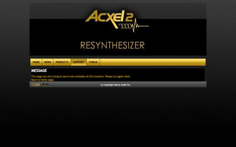 Screenshot of Support Page acxel2.com - Acxel2 ...the formula 1 of synthesizer - captured Oct. 4, 2014