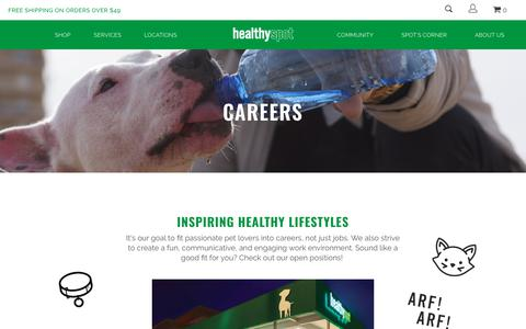 Screenshot of Jobs Page healthyspot.com - Find a career working with pets and doing what you love | Healthy Spot - captured July 18, 2018
