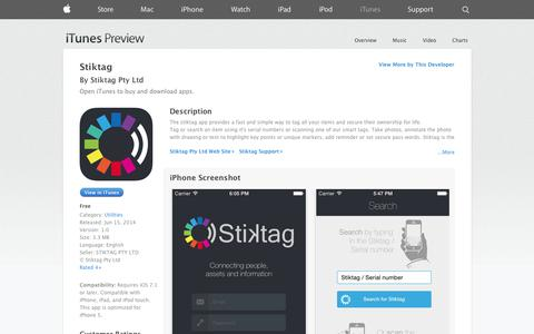 Screenshot of iOS App Page apple.com - Stiktag on the App Store on iTunes - captured Oct. 29, 2014