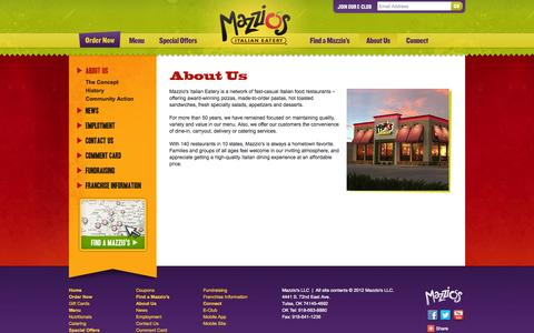 Screenshot of About Page mazzios.com - Mazzio's Italian Eatery - About Us - Quality, Variety, Service, Mazzio's History, Family Restaurant, Community Action, Affordable Price - captured Oct. 27, 2014