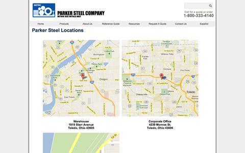 Screenshot of Locations Page metricmetal.com - Metric Metals Locations - captured Oct. 1, 2014