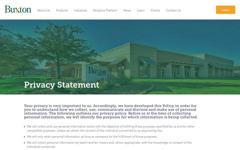 Screenshot of Privacy Page buxtonco.com - Buxton Privacy Statement - captured Aug. 24, 2016