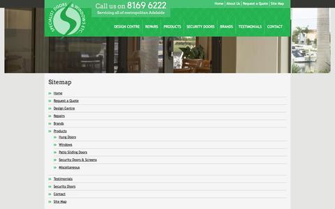 Screenshot of Site Map Page sdwetc.com.au - Sitemap - Specialist Doors & Windows Etc. Adelaide Door & Window Repair & Replacement Experts - captured Oct. 6, 2014