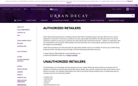 Screenshot of Support Page urbandecay.com - Authorized Retailers | Urban Decay - captured June 6, 2019