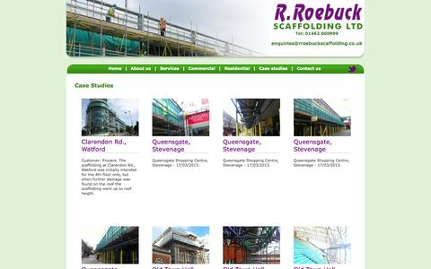 Screenshot of Case Studies Page rroebuckscaffolding.co.uk - R.Roebuck Scaffolding Ltd. - captured Oct. 27, 2014